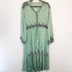 Soft Surroundings mint green embroidered maxi 1x